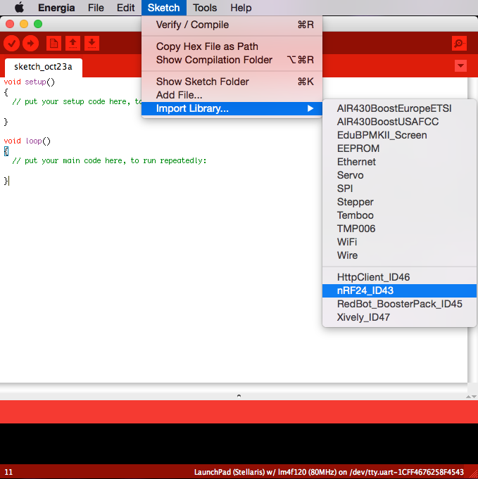 Energia IDE Libraries with integrated PlatformIO Library Manager